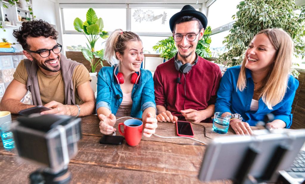 digital-native-friends-sharing-video-streaming-platform-with-web-phone-camera